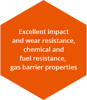 Excellent impact resistance,abrasion resistance,chemical resistance,fuel resistance,gas barrier properties